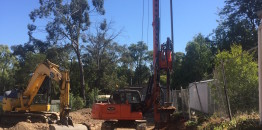 Preparing the retaining wall at 33 Cambridge Rd Mooroolbark